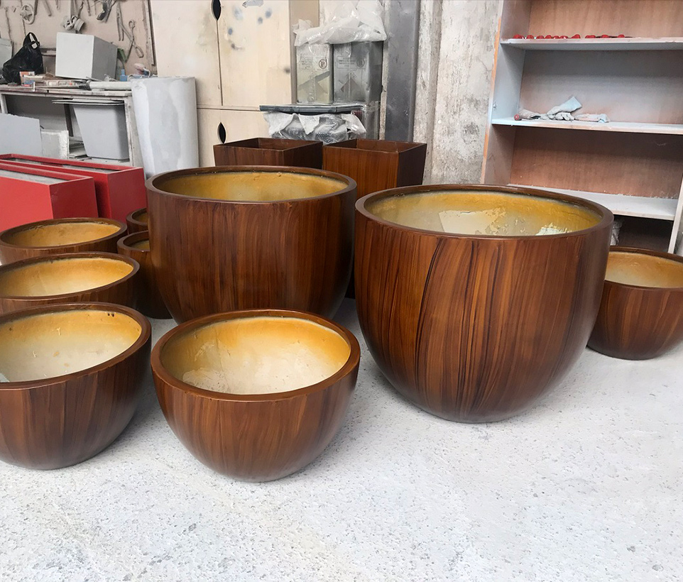 Wooden Patterned FRP planters